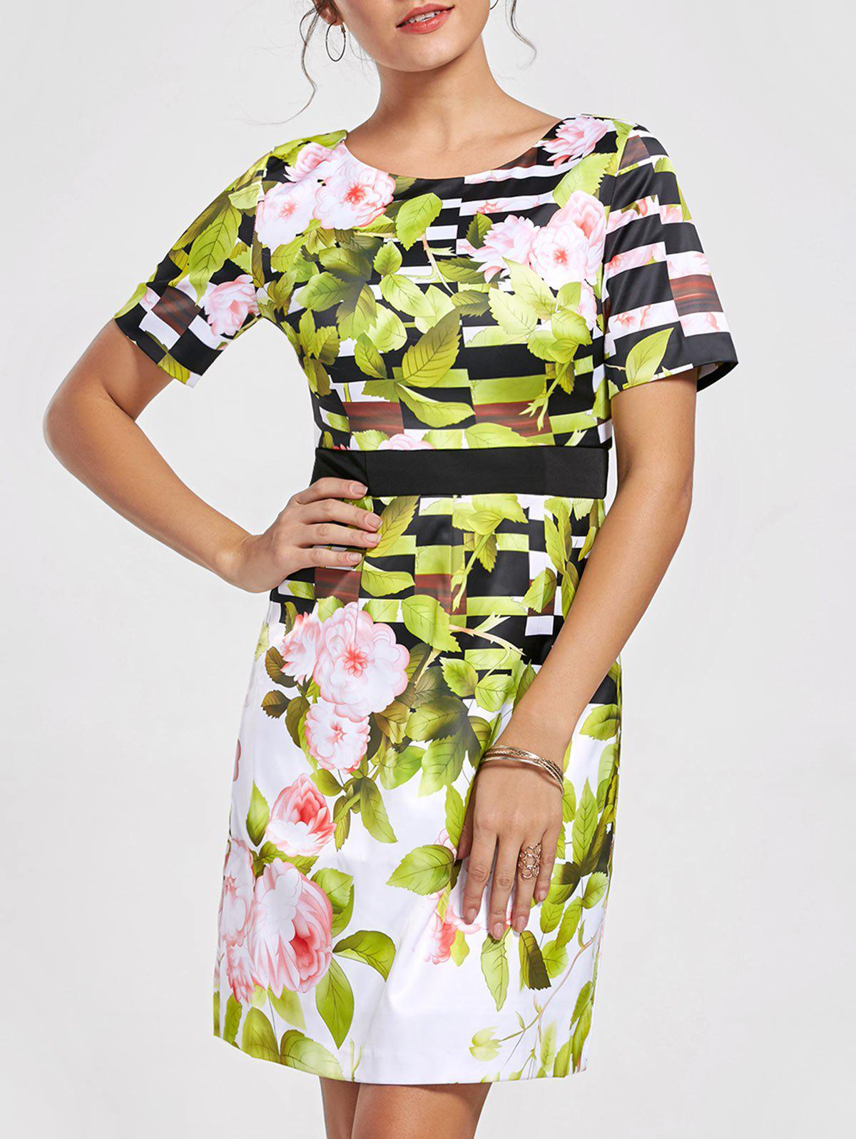 Outfits Vintage Scoop Neck Short Sleeves Floral Print Dress For Women