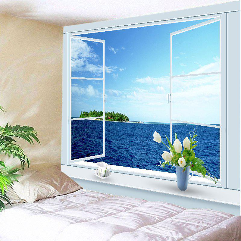 Window Ocean Print Tapestry Wall Hanging Art DecorationHOME<br><br>Size: W79 INCH * L59 INCH; Color: BLUE; Style: Natural; Theme: Landscape; Material: Polyester; Feature: Washable; Shape/Pattern: Print; Weight: 0.4500kg; Package Contents: 1 x Tapestry;