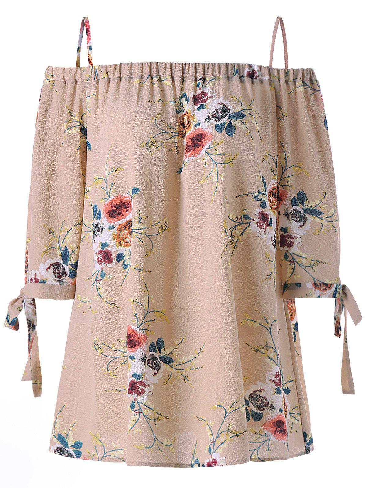 Plus Size Cold Shoulder Bohemian BlouseWOMEN<br><br>Size: XL; Color: APRICOT; Material: Polyester; Shirt Length: Regular; Sleeve Length: Three Quarter; Collar: Spaghetti Strap; Style: Fashion; Season: Fall,Spring,Summer; Pattern Type: Floral; Placement Print: No; Weight: 0.2100kg; Package Contents: 1 x Blouse;