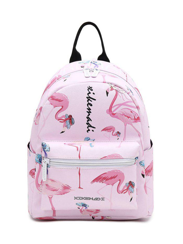 Flamingo Print Faux Leather BackpackSHOES &amp; BAGS<br><br>Color: PINK; Handbag Type: Backpack; Style: Fashion; Gender: For Women; Pattern Type: Print; Handbag Size: Small(20-30cm); Closure Type: Zipper; Occasion: Daily; Main Material: PU; Weight: 1.2000kg; Size(CM)(L*W*H): 24*12*27; Package Contents: 1 x Backpack;