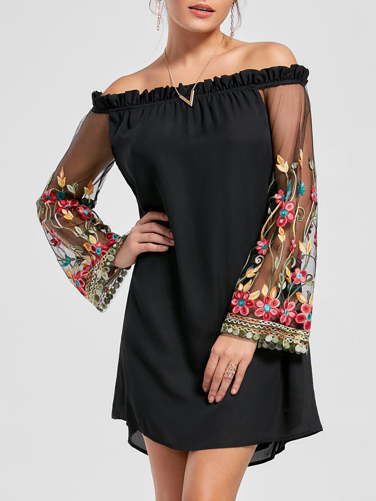 New Flare Sleeve Off Shoulder Embroidered Mesh Dress