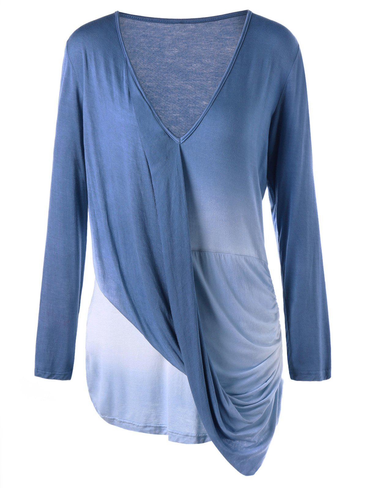 Plus Size Long Sleeve Ombre Draped TopWOMEN<br><br>Size: 3XL; Color: COLORMIX; Material: Cotton,Polyester; Shirt Length: Long; Sleeve Length: Full; Collar: V-Neck; Style: Casual; Season: Fall; Embellishment: Draped; Pattern Type: Ombre; Weight: 0.3000kg; Package Contents: 1 x T-shirt;