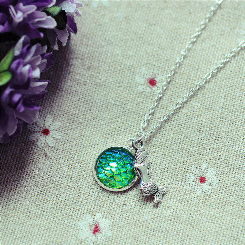 Sparkly Mermaid Scales Pendant NecklaceJEWELRY<br><br>Color: #03; Item Type: Pendant Necklace; Gender: For Women; Style: Trendy; Shape/Pattern: Animal; Length: 45CM; Weight: 0.0300kg; Package Contents: 1 x Necklace;