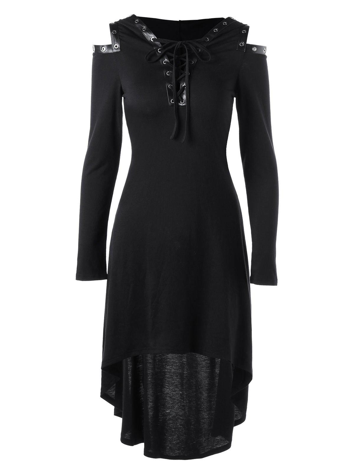 Hooded Lace Up Cold Shoulder DressWOMEN<br><br>Size: 2XL; Color: BLACK; Style: Gothic; Material: Rayon,Spandex; Silhouette: A-Line; Dresses Length: Mid-Calf; Neckline: Plunging Neck; Sleeve Length: Long Sleeves; Pattern Type: Solid Color; With Belt: No; Season: Fall,Spring,Summer; Weight: 0.4000kg; Package Contents: 1 x Dress; Occasion: Casual ,Club,Evening,Going Out,Jersey;
