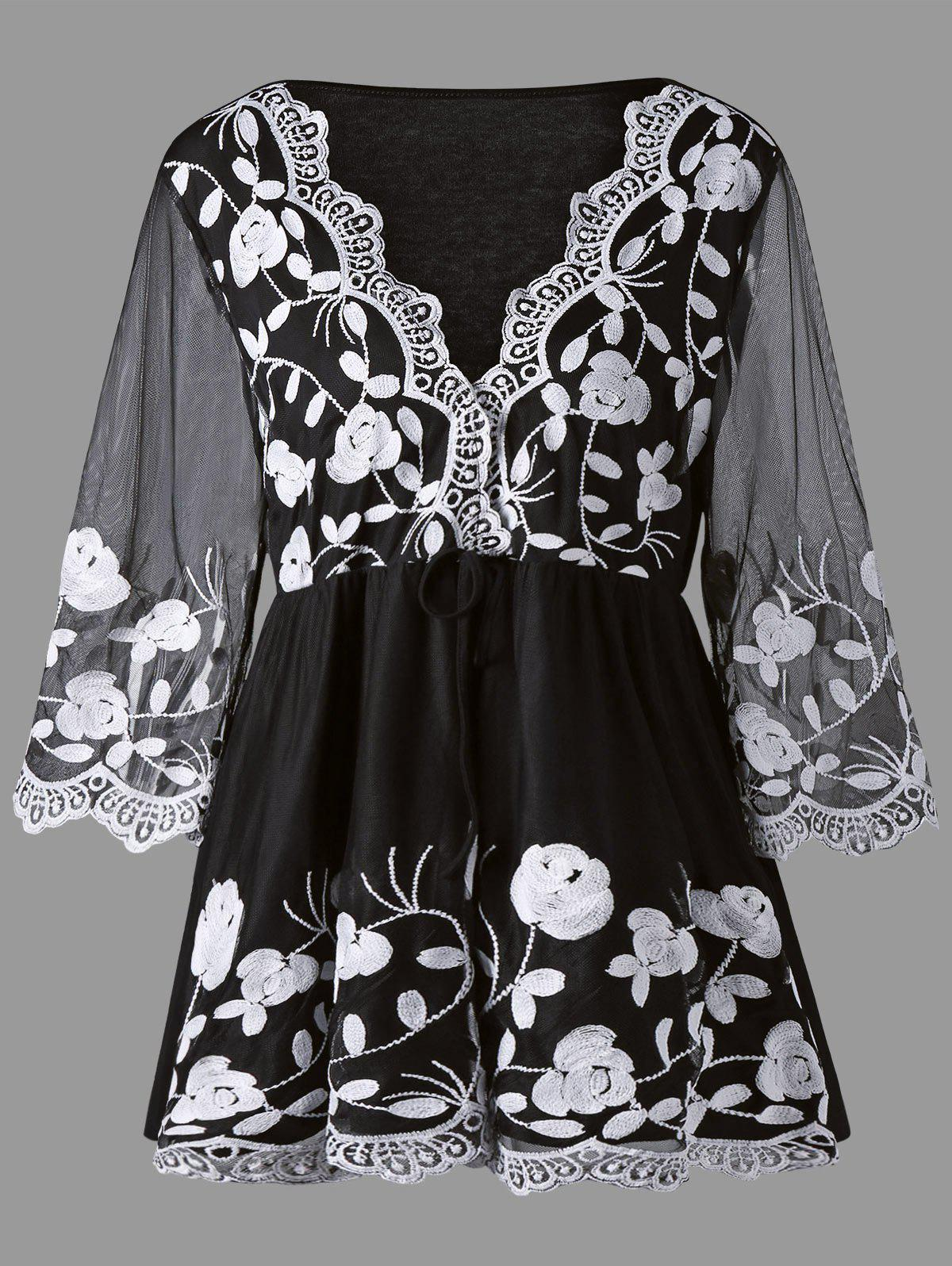 Plus Size Lace Panel Floral Embroidered TopWOMEN<br><br>Size: 2XL; Color: WHITE AND BLACK; Material: Lace,Polyester; Shirt Length: Long; Sleeve Length: Three Quarter; Collar: Plunging Neck; Style: Fashion; Season: Fall; Embellishment: Embroidery,Lace,Panel; Pattern Type: Floral; Weight: 0.3700kg; Package Contents: 1 x Blouse;