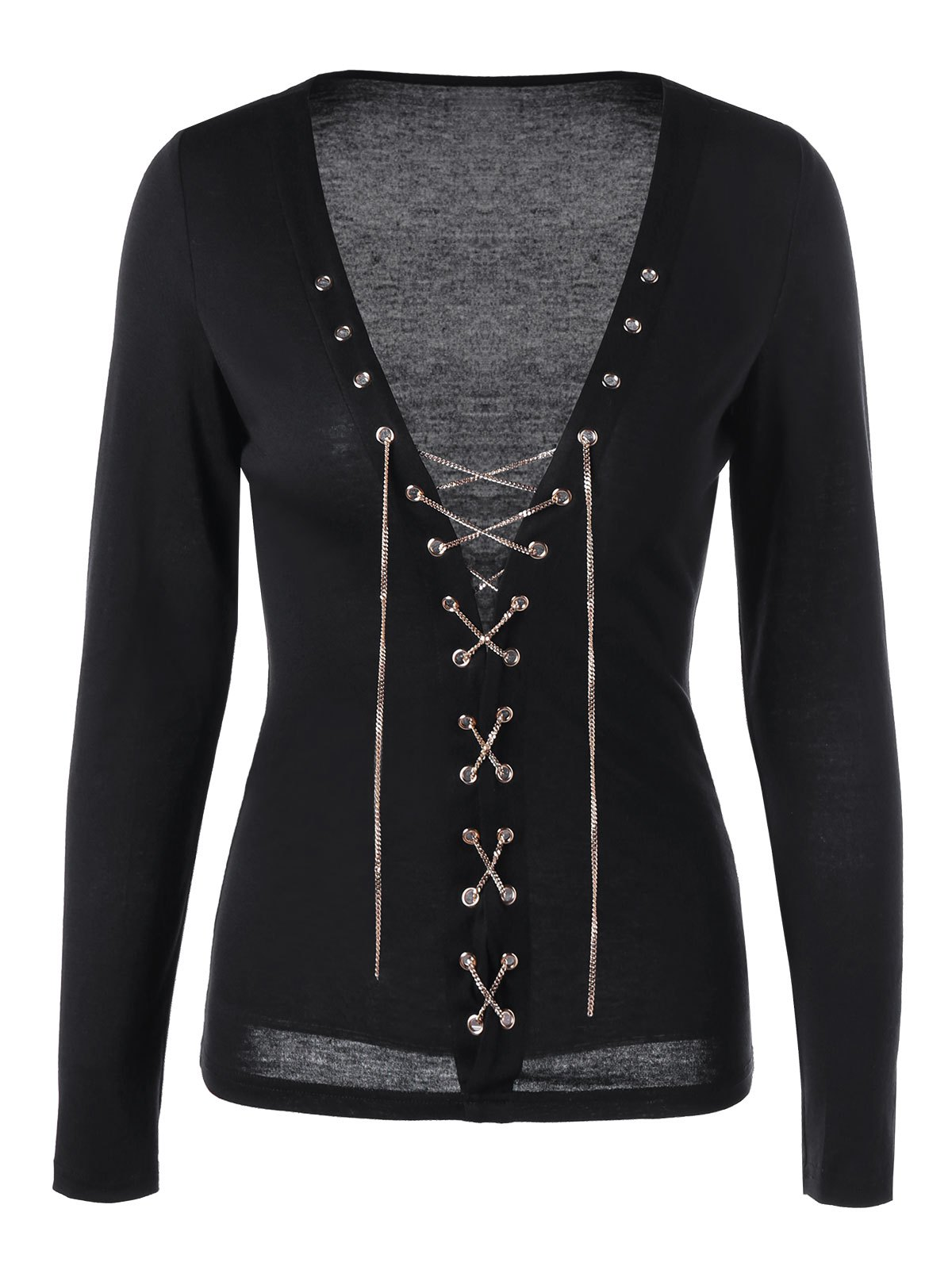 Lace Up Chains Plunge TopWOMEN<br><br>Size: XL; Color: BLACK; Material: Polyester,Spandex; Shirt Length: Regular; Sleeve Length: Full; Collar: Plunging Neck; Style: Fashion; Embellishment: Chains; Pattern Type: Solid Color; Season: Fall,Spring,Summer; Weight: 0.2500kg; Package Contents: 1 x Top;