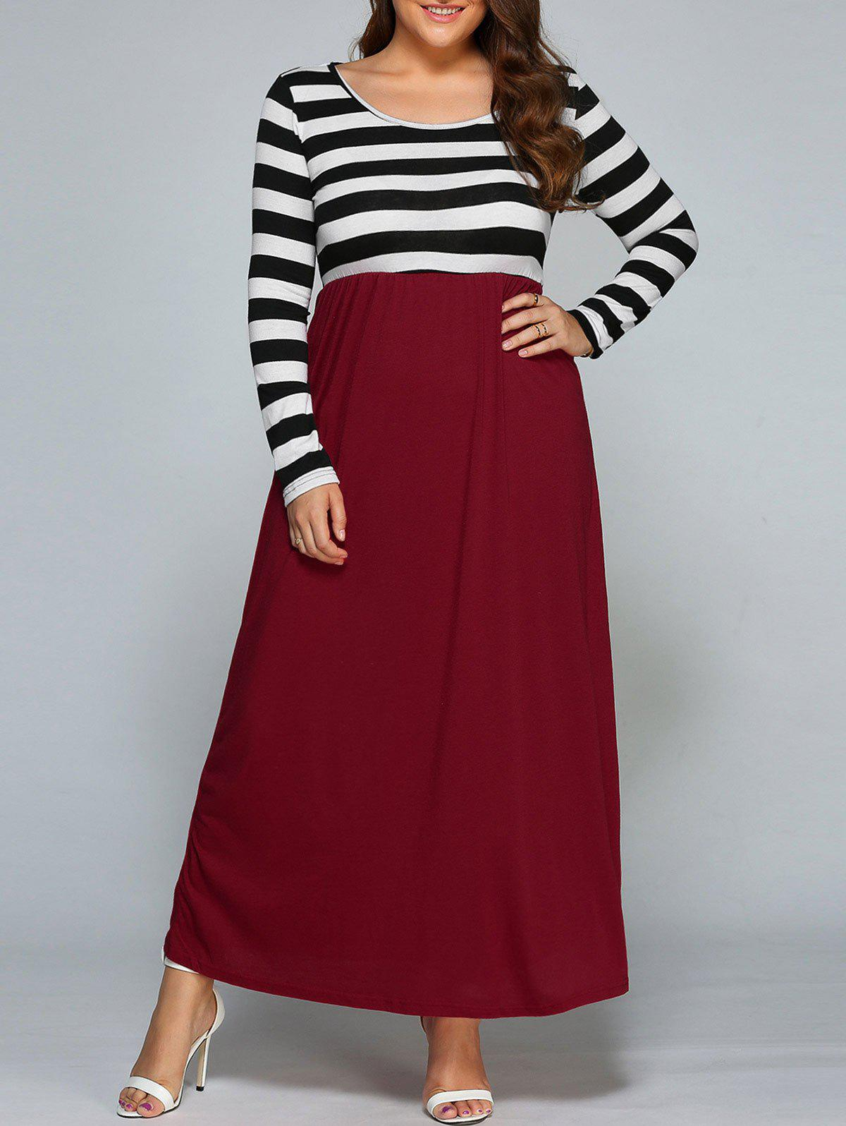 Plus Size Stripe Maxi Dress with SleevesWOMEN<br><br>Size: 2XL; Color: BLACK AND WHITE AND RED; Style: Casual; Material: Cotton,Polyester; Silhouette: A-Line; Dresses Length: Ankle-Length; Neckline: Scoop Neck; Sleeve Length: Long Sleeves; Pattern Type: Striped; With Belt: No; Season: Fall,Spring; Weight: 0.370kg; Package Contents: 1 x Dress;