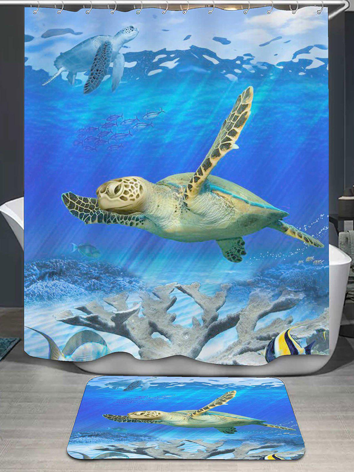 Sea World Turtle Printed Shower Curtain and RugHOME<br><br>Color: OCEAN BLUE; Products Type: Shower Curtains; Materials: Flannel,Polyester; Pattern: Animal; Style: Cute; Package Contents: 1 x Shower Curtain 1 x Rug;
