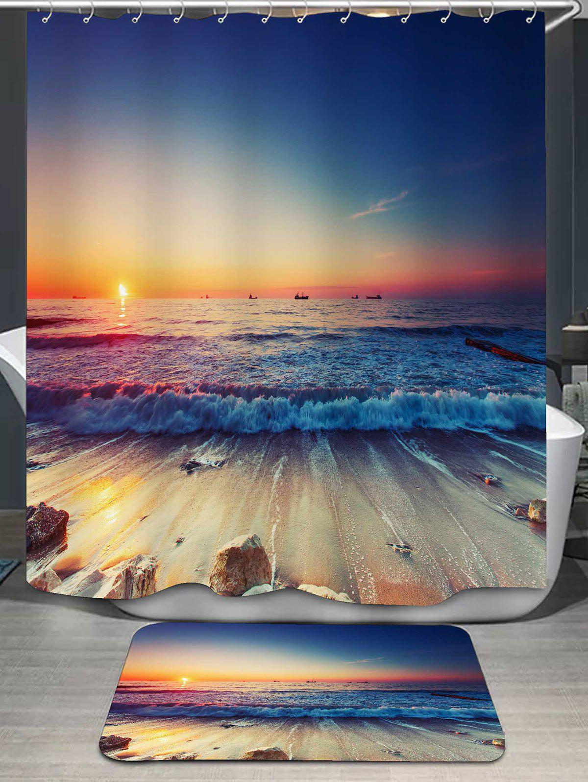 Beach Scenery Print Bath Curtain and RugHOME<br><br>Color: COLORMIX; Products Type: Shower Curtains; Materials: Flannel,Polyester; Pattern: Scenic; Style: Beach Style; Package Contents: 1 x Shower Curtain 1 x Rug;