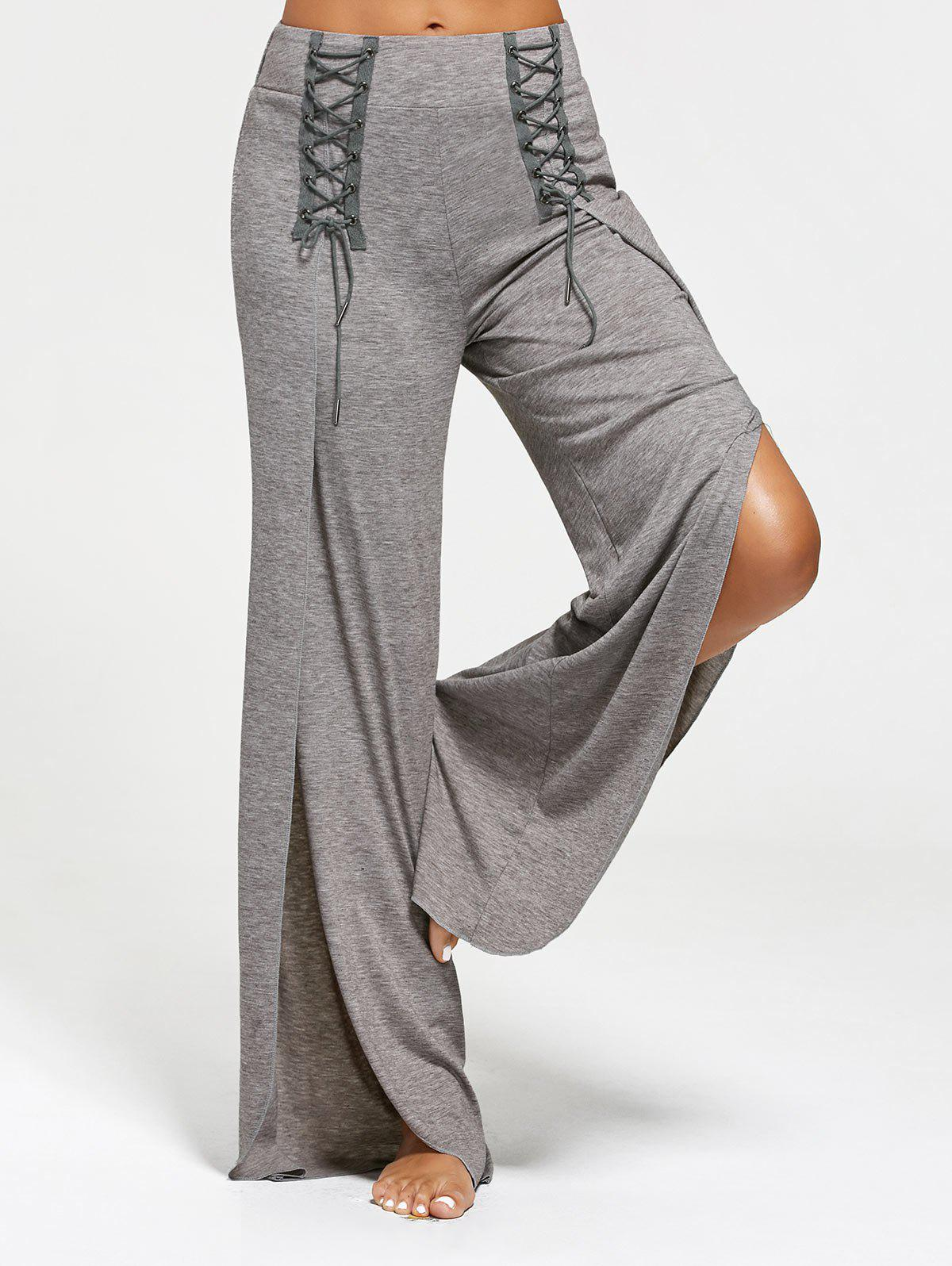 Lace Ups Embellished High Slit Palazzo PantsWOMEN<br><br>Size: 2XL; Color: GRAY; Style: Casual; Length: Normal; Material: Polyester,Spandex; Fit Type: Loose; Waist Type: High; Closure Type: Elastic Waist; Front Style: Flat; Pattern Type: Solid; Embellishment: Criss-Cross,Slit; Pant Style: Wide Leg Pants; Elasticity: Elastic; With Belt: No; Weight: 0.3700kg; Package Contents: 1 x Pants;