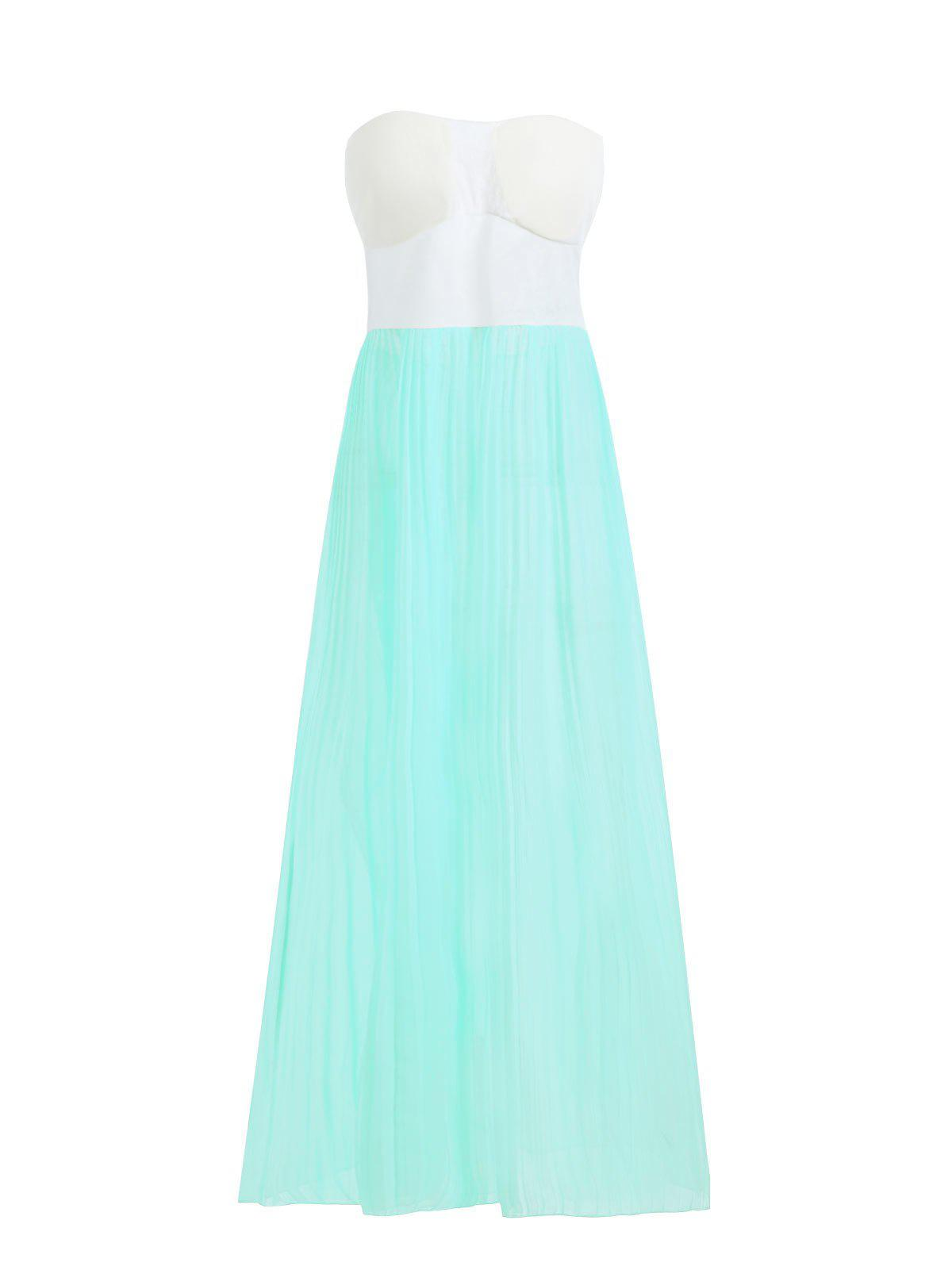 Buy Chic Strapless High Waist Sleeveless Pleated Women's Maxi Dress