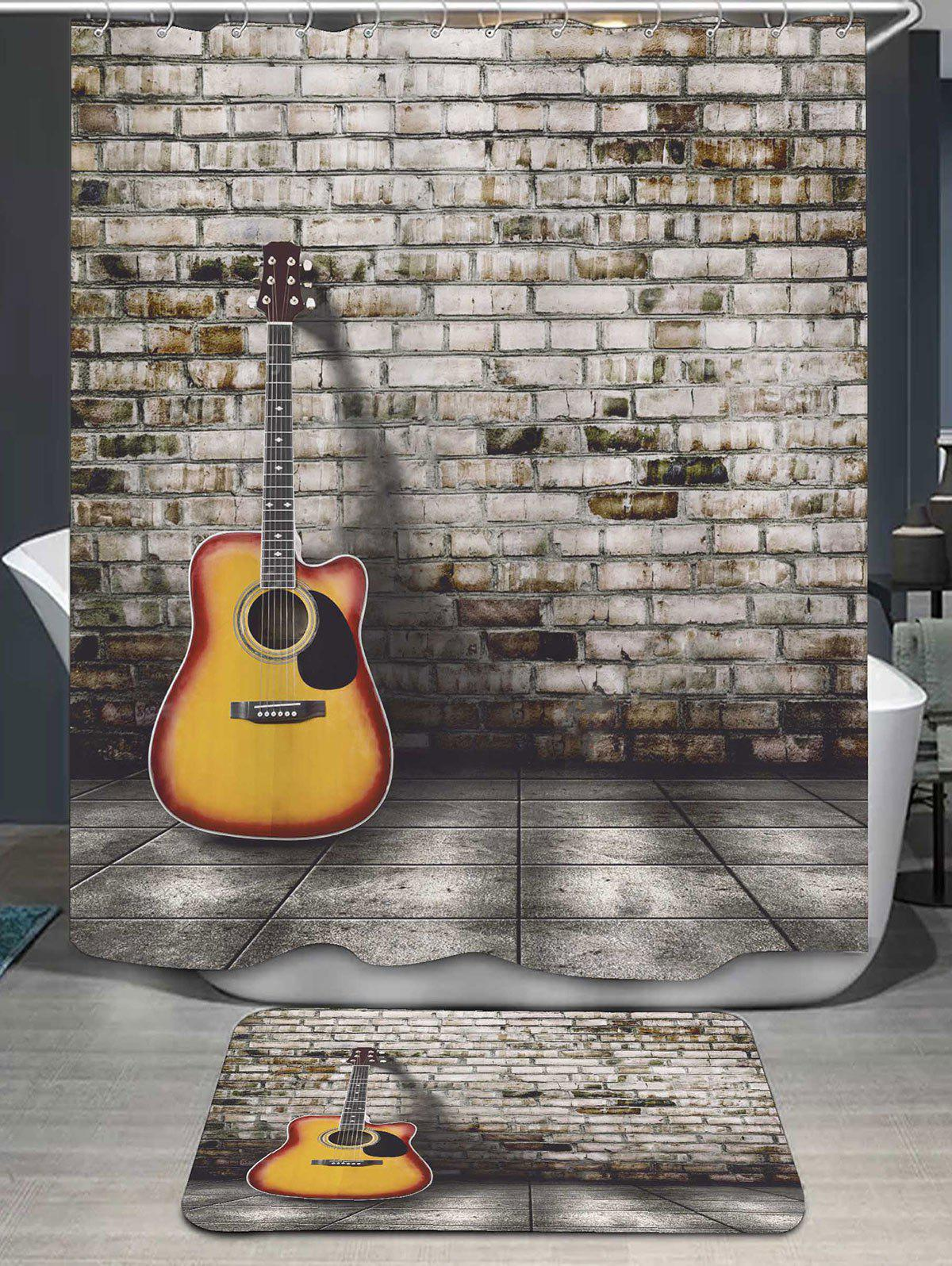 Outfit Brick Wall Guitar Shower Curtain And Bath Rug