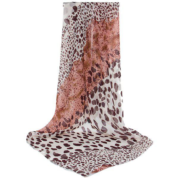 Cheetah Print Color Block Chiffon Square ScarfACCESSORIES<br><br>Color: BROWN; Scarf Type: Scarf; Group: Adult; Gender: For Women; Style: Fashion; Material: Polyester; Pattern Type: Leopard,Print; Season: Fall,Spring,Summer; Scarf Length: 98CM; Scarf Width (CM): 98CM; Weight: 0.1800kg; Package Contents: 1 x Scarf;