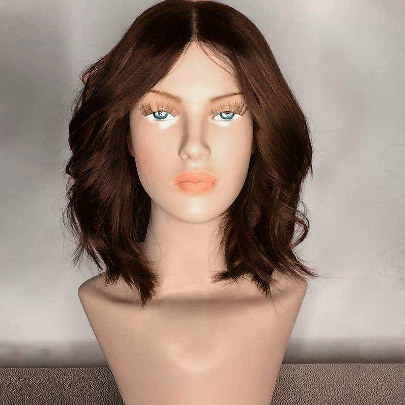 Center Part Medium Shaggy Wavy Synthetic WigHAIR<br><br>Color: BROWN; Type: Full Wigs; Cap Construction: Capless; Style: Wavy; Material: Synthetic Hair; Bang Type: Middle; Length: Medium; Length Size(CM): 35; Weight: 0.2150kg; Package Contents: 1 x Wig;