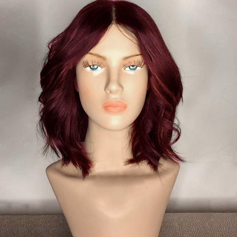 Center Part Medium Shaggy Wavy Synthetic WigHAIR<br><br>Color: WINE RED; Type: Full Wigs; Cap Construction: Capless; Style: Wavy; Material: Synthetic Hair; Bang Type: Middle; Length: Medium; Length Size(CM): 35; Weight: 0.2150kg; Package Contents: 1 x Wig;