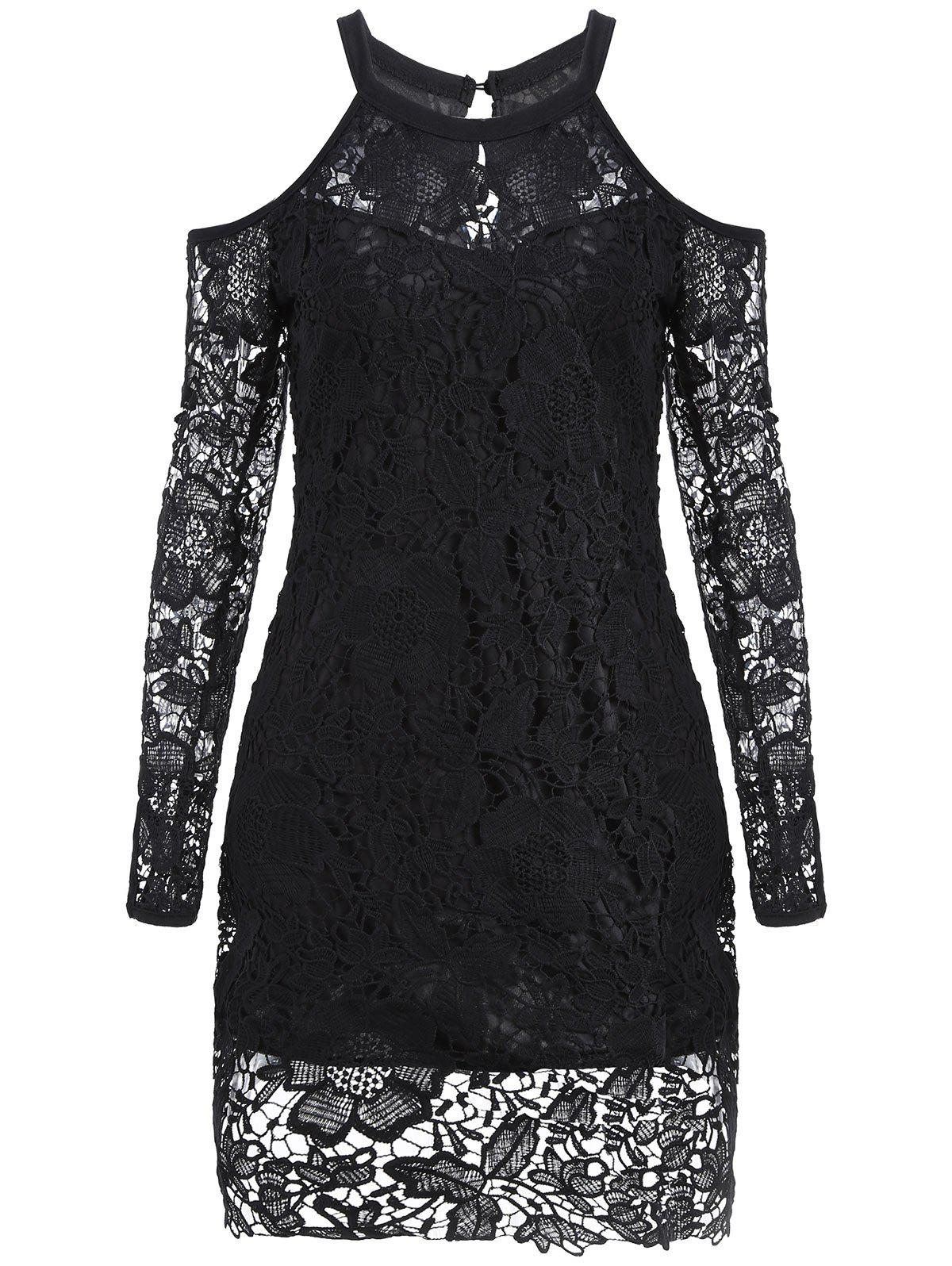 New Cold Shoulder Long Sleeve Lace Bodycon Dress