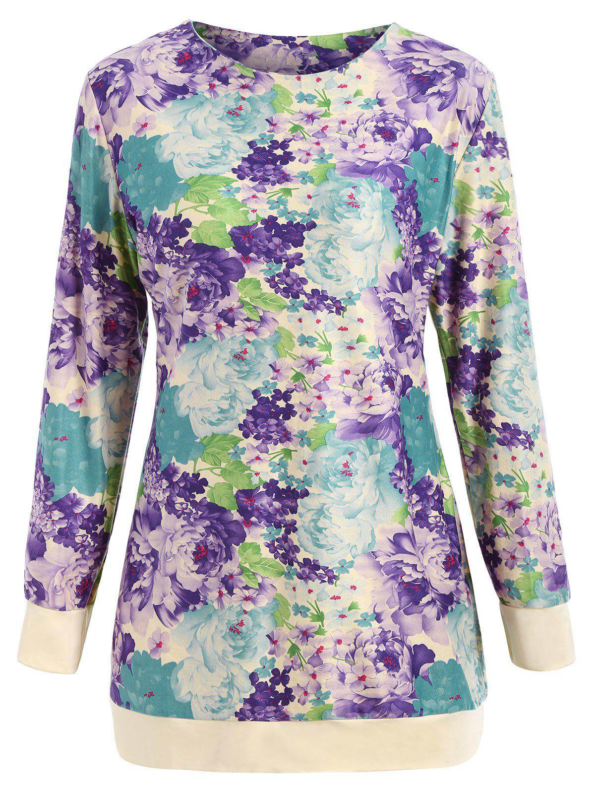 0baaba57c872 53% OFF] Slimming Long Sleeve Floral Mini Dress | Rosegal