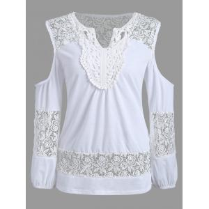 Lace Crochet Cold Shoulder Tunic Tee