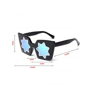 Mirrored Reflective Geometric Star Frame Sunglasses - PINK