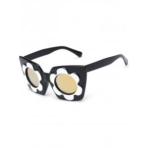 Fancy Flower Frame Reflective Mirror Sunglasses