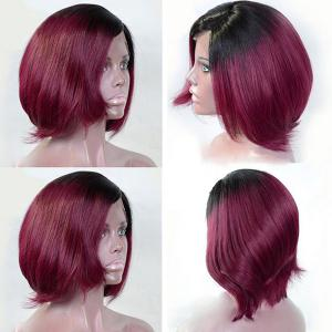 Short Inclined Bang Two Tone Straight Bob Synthetic Wig - Black And Red