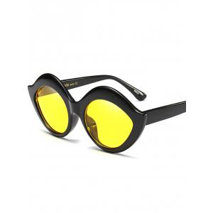 Street Snap Lip Shape Anti UV Sunglasses - YELLOW