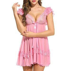 Plunging Neck See Through Swing Babydoll -