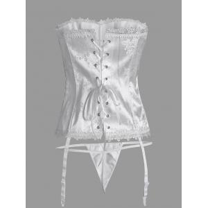 Strapless Lace Up Bridal Corset - WHITE S