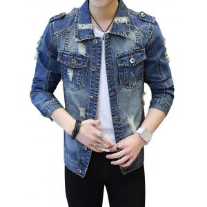 Pockets Epaulet Design Ripped Denim Jacket