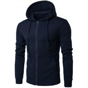 Pouch Pocket Hooded Fleece Hoodie - Cadetblue - L
