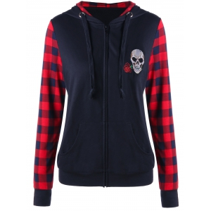 Plaid Insert Zip Up Skull Patched Hoodie