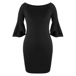 Slit Flare Sleeve Plus Size Bodycon Dress - Black - 4xl