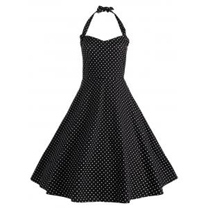 Halter Polka Dot Vintage Plus Size Dress
