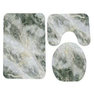 Marble Grain Pattern 3 Pcs Flannel Bath Mat Toilet Mat -