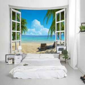 Window Beach View Print Tapestry Wall Hanging Art Decoration -