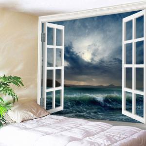 Window Sea Wave Print Tapestry Wall Hanging Art Decoration