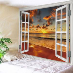 Window Beach Sunset Print Tapestry Wall Hanging Art Decoration