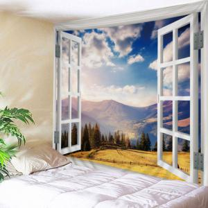 Window Moutain View Print Tapestry Wall Hanging Art Decoration