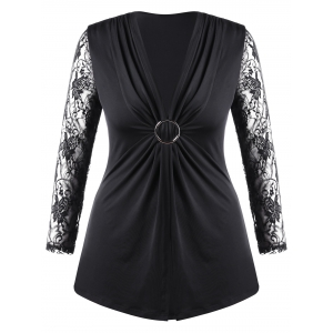 Plus Size Lace Trim Twist Front Top