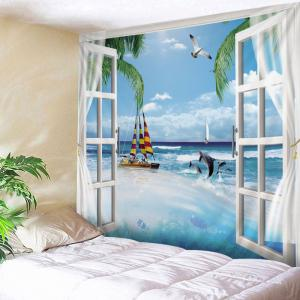 Window Sea Boat Print Tapestry Wall Hanging Art Decoration