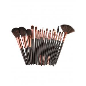 18Pcs Face Eye Makeup Brushes Kit - Light Brown + Black