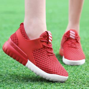 Breathable Mesh Faux Leather Insert Athletic Shoes - RED 37