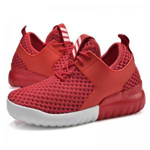 Breathable Mesh Faux Leather Insert Athletic Shoes - RED 38