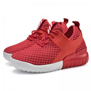 Breathable Mesh Faux Leather Insert Athletic Shoes - RED 40