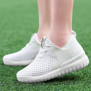 Breathable Mesh Faux Leather Insert Athletic Shoes - WHITE 37