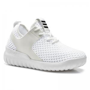 Breathable Mesh Faux Leather Insert Athletic Shoes - White - 38