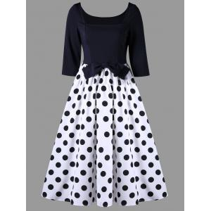 Bowknot A Line Polka Dot Vintage Dress - Black White - 2xl