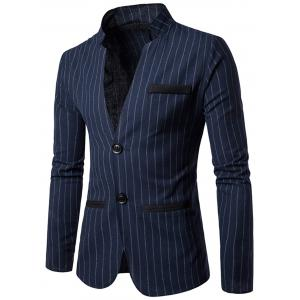 Two Button Vertical Stripe Casual Blazer - Cadetblue - Xl