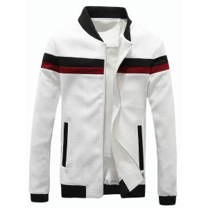 Waffle Knit Stand Collar Color Block Panel Jacket