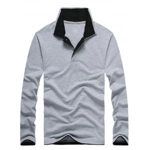 Double Collar Long Sleeve Polo Shirt
